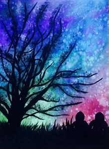 Two Lovers in the Night Painiting
