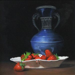 Blue vase and Strawberries