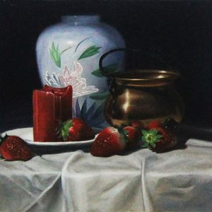 White Vase, Candle and Strawberries