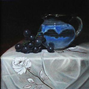 A Blue Jar and Dark Purple Grapes