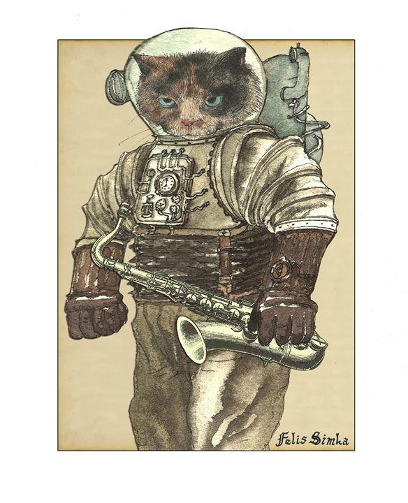 Space Cat with Saxophone - Felis Simha