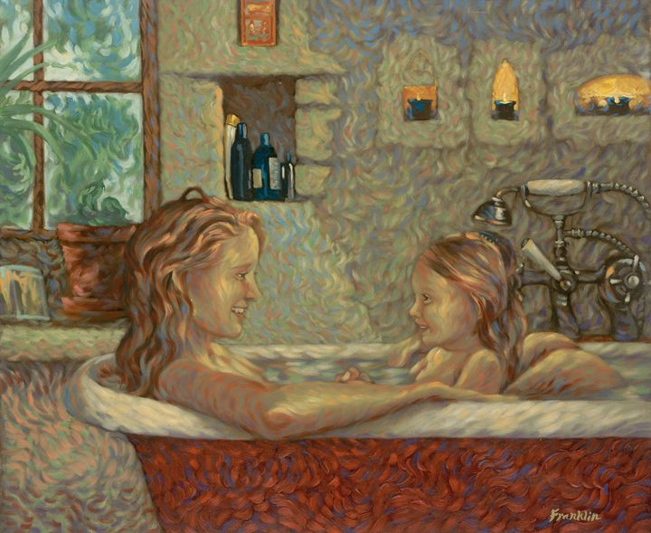Mama and daughter in bath - Dewey Franklin