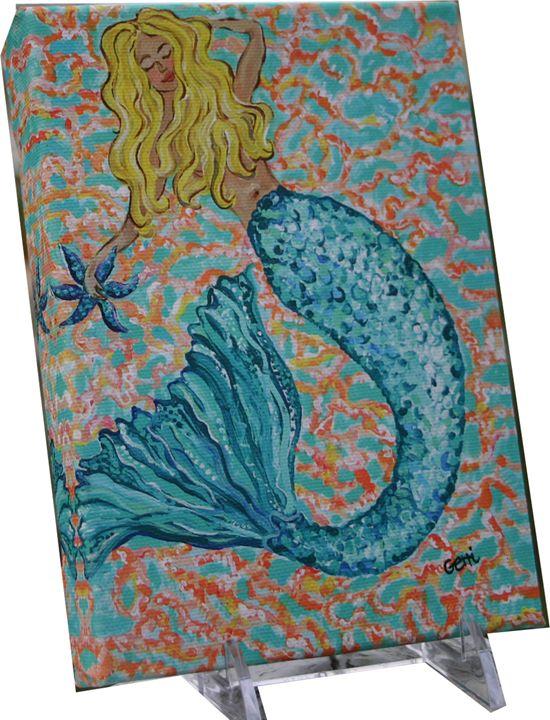Turquoise Mermaid Mini Canvas, 5 x 7 - Gerri Hyman Art