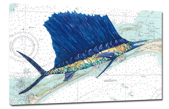 Canvas Sailfish ~ Outer Banks Chart - Gerri Hyman Art