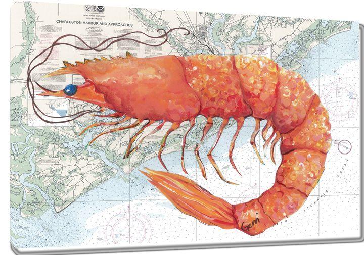 Shrimp on Charleston Nautical Chart - Gerri Hyman Art