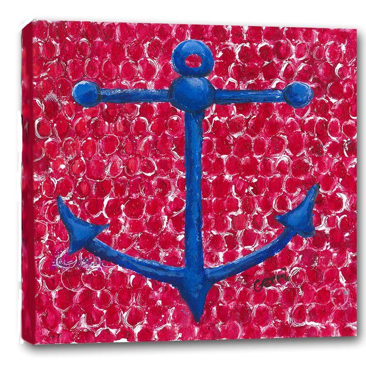 "SALE! Blue Anchor Canvas, 20 x 20"" - Gerri Hyman Art"