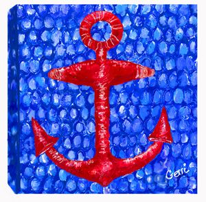 SALE! Red Anchor on Canvas, 20 x 20""