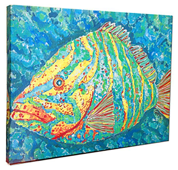 "Striped Grouper on Canvas, 24 x 36"" - Gerri Hyman Art"