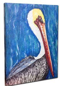 "Whimsical Pelican Canvas, 24 x 36"""