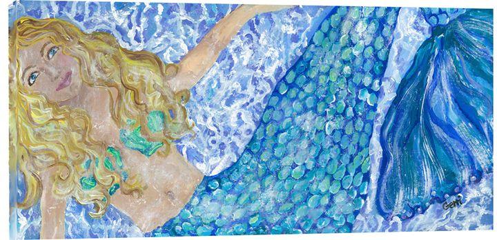 "Merry Mermaid on Canvas, 24 x 48"" - Gerri Hyman Art"