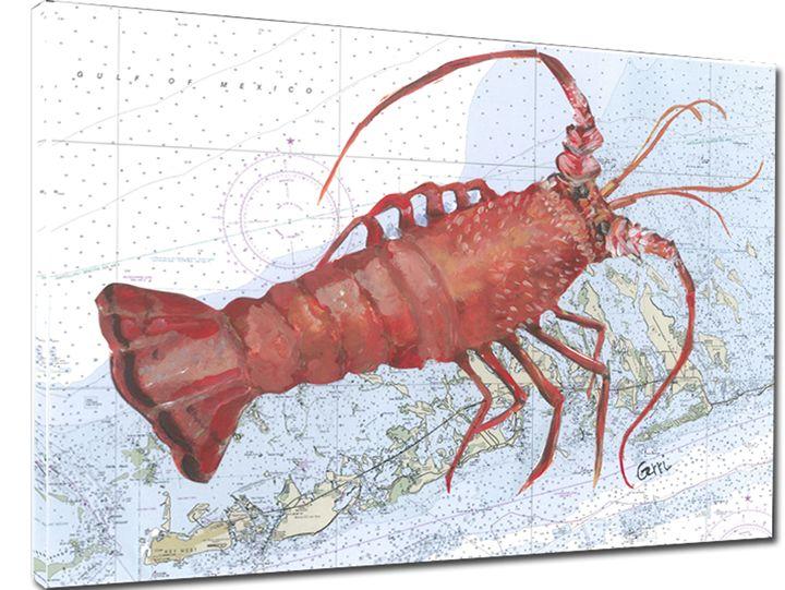 Spiny Lobster on FL Keys Chart - Gerri Hyman Art
