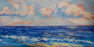 Waves at Sunset (pallet knife)