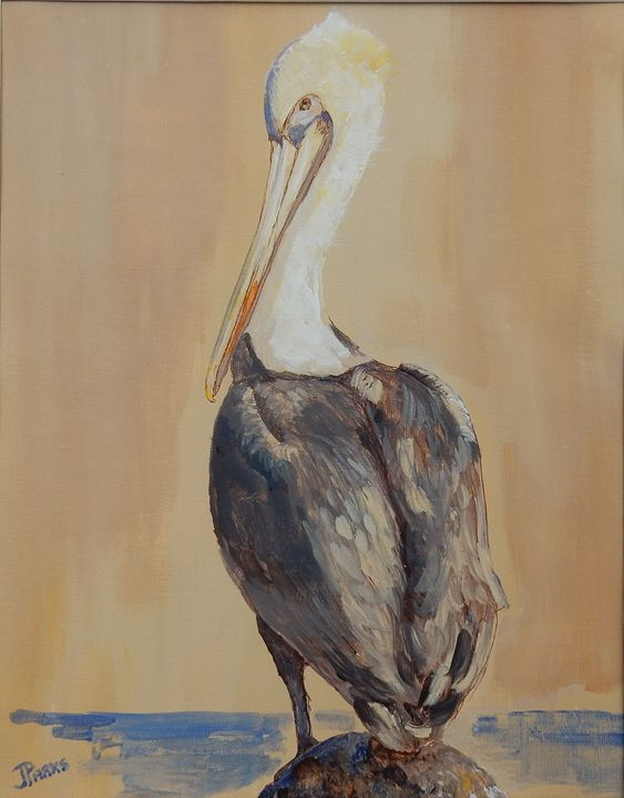 Pelican in a Sepia Sky - Joy Parks Coats Art