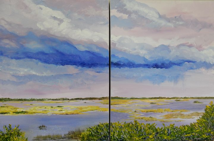 Storm over the Marsh (diptych) - Joy Parks Coats Art
