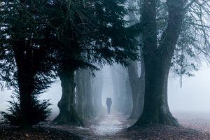 Female person entering into the fog
