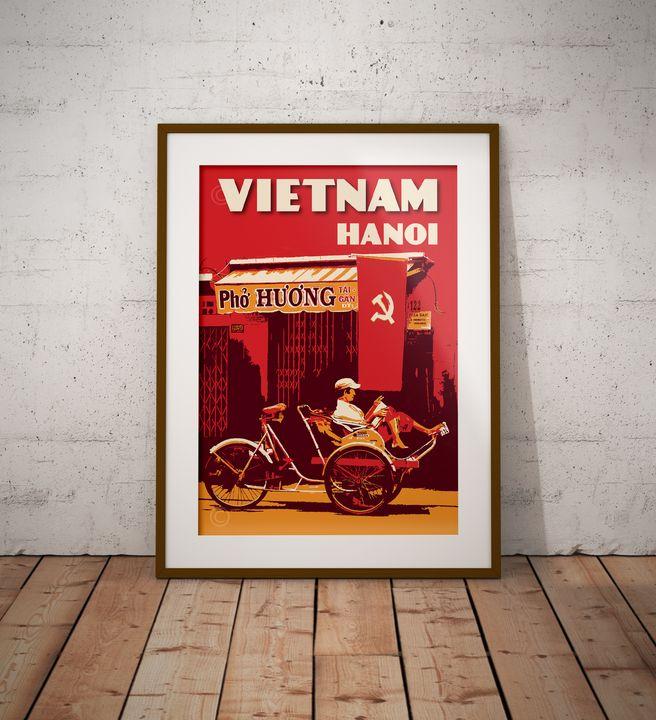 Vietnam - Hanoi - Trishaw - Vintage Poster TM