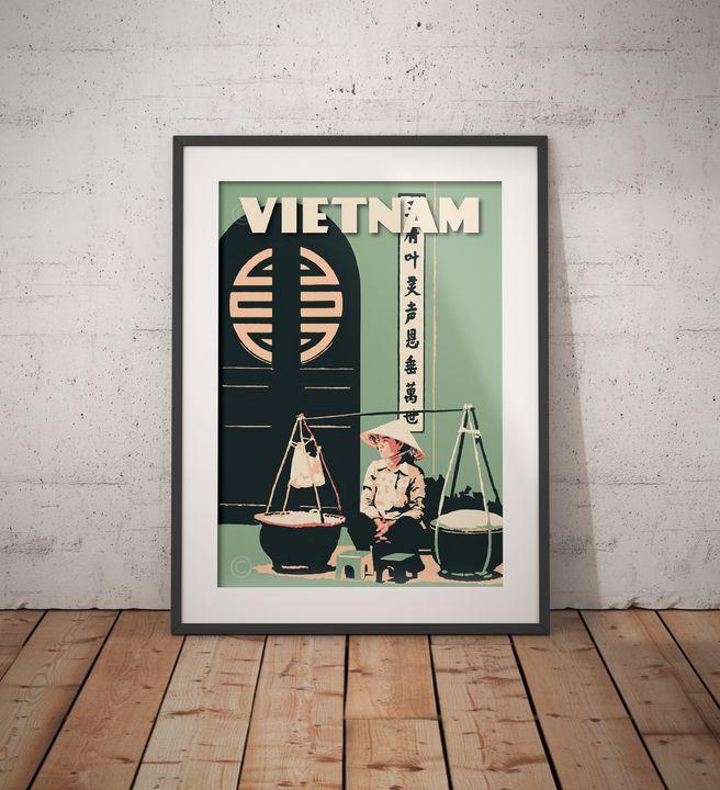 Vietnam - Saigon - Vietnamese Door - Vintage Poster TM