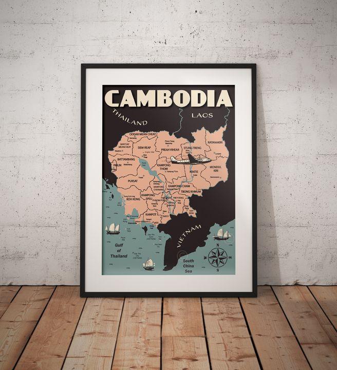 Cambodia Map - Vintage Poster TM