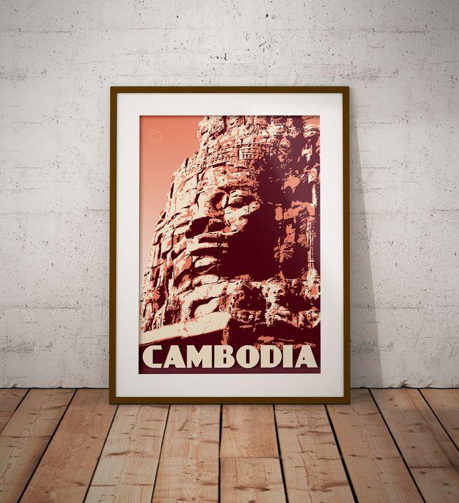 Cambodia - The Bayon - Vintage Poster TM