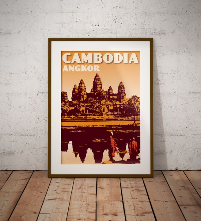 Cambodia - Angkor Wat - Vintage Poster TM