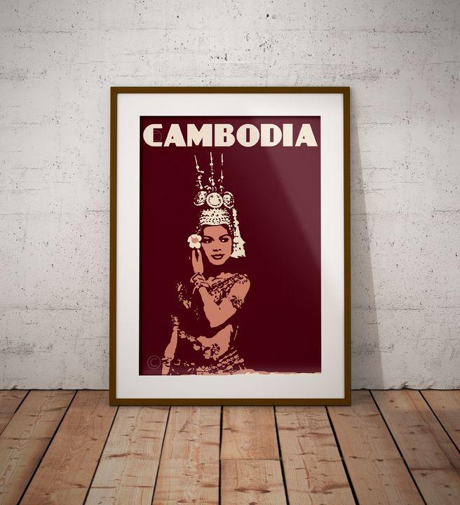 Cambodia - Apsara - Vintage Poster TM