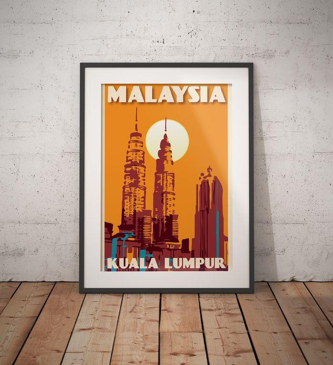 Malaysia - Petronas Twin Towers - Vintage Poster TM