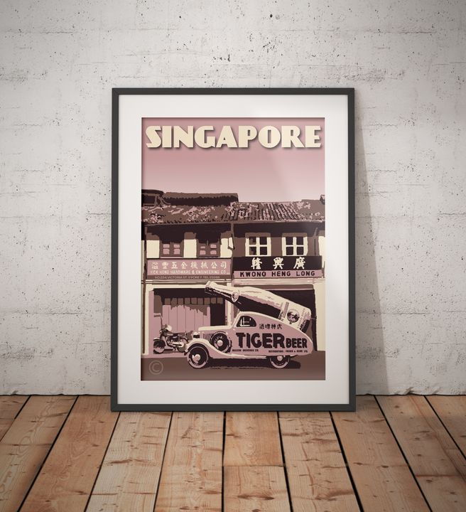 Singapore - Tiger Beer Old Car - Vintage Poster TM