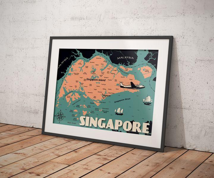 Singapore Map - Vintage Poster TM