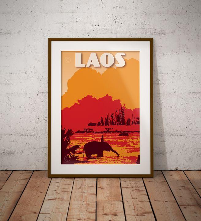 Laos - Elephant River - Vintage Poster TM