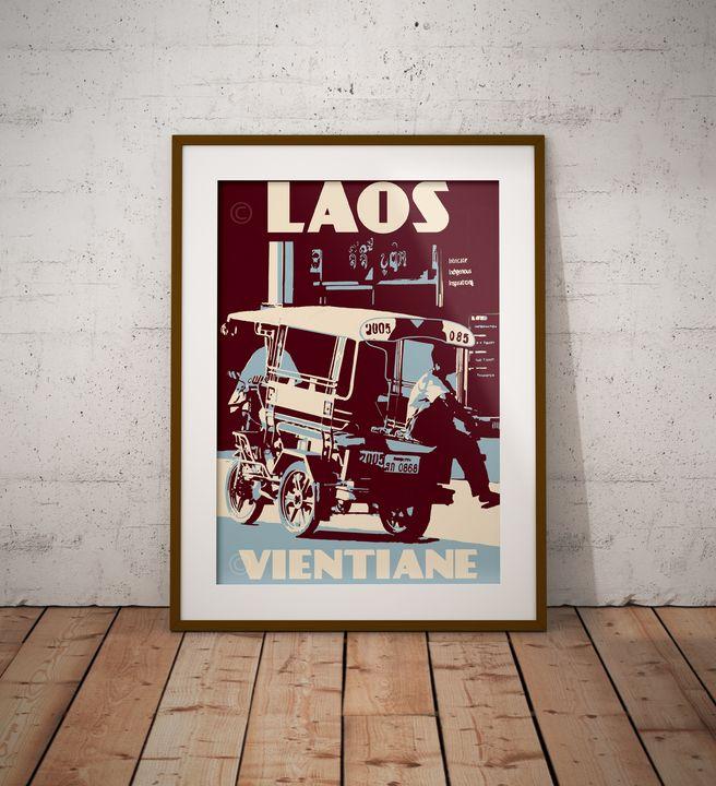 Laos - Vientiane - Tuk Tuk - Vintage Poster TM