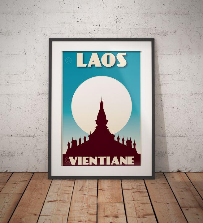Laos - Vientiane - That Luang - Vintage Poster TM