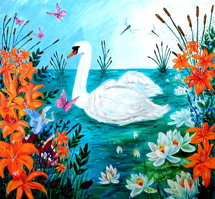 Swan On A Pond - Spiritinart