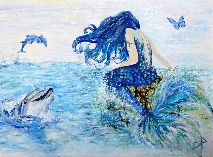 Mermaid And Laughing Dolphin - Spiritinart