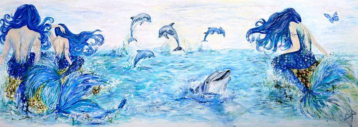 Mermaids And Dolphins - Spiritinart