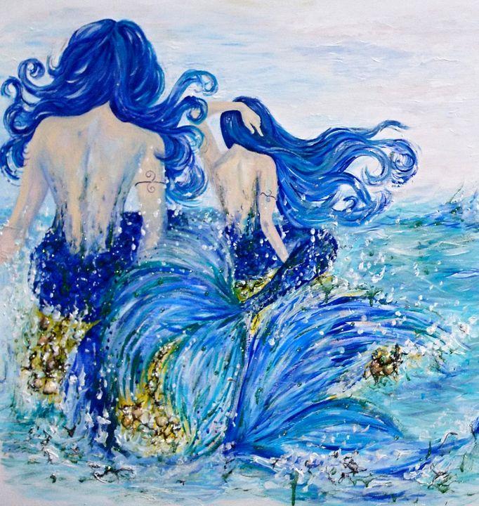 Mermaids Sitting On Rock - Spiritinart