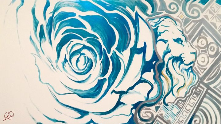Blue Rose Lion - DionysusGallery.com