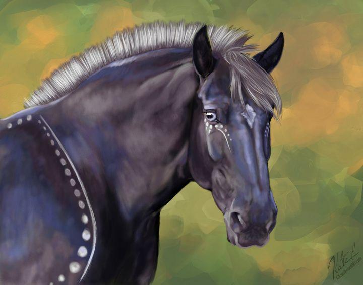 Painted Black Percheron - KJL Art