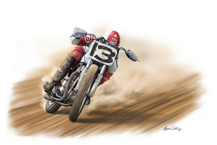 Dave Aldana tucked and gassing it - Byron Chaney's Illustration and Design
