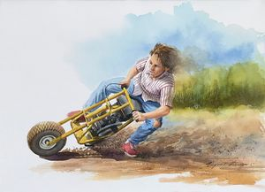 Sliding on a Minibike - Byron Chaney's Illustration and Design