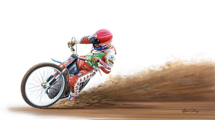 Bruce Penhall, Speedway Champion - Byron Chaney's Illustration and Design