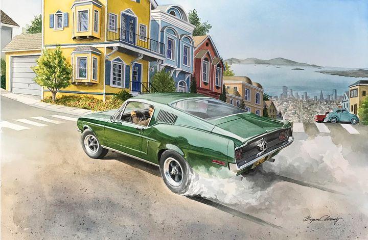 The Bullitt Mustang - Byron Chaney's Illustration and Design