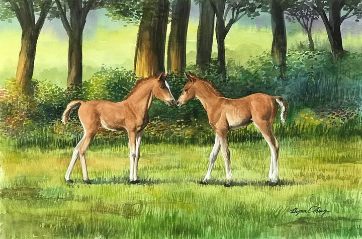 Kissing Ponies - Byron Chaney's Illustration and Design