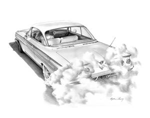 Chevy Burnout pencil - Byron Chaney's Illustration and Design