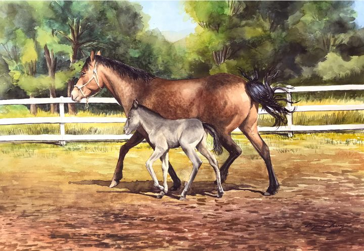 Horse and Pony Trotting - Byron Chaney's Illustration and Design