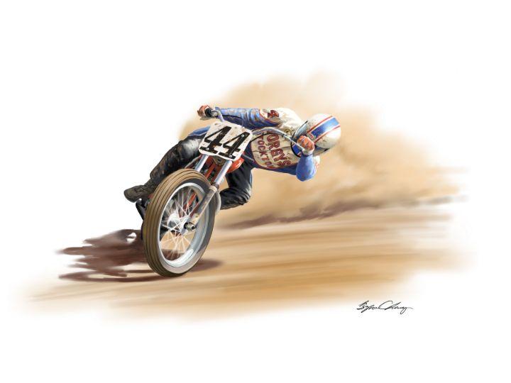 Alex Jorgenson sliding on his Norton - Byron Chaney's Illustration and Design