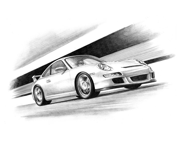 Porsche at Speed - Byron Chaney's Illustration and Design