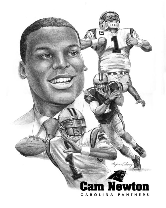 Cam Newton portrait - Byron Chaney's Illustration and Design