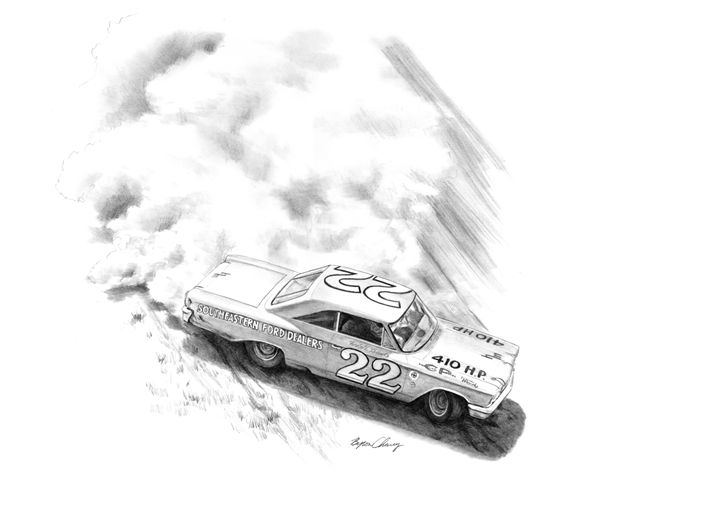 Fireball Roberts sliding - Byron Chaney's Illustration and Design