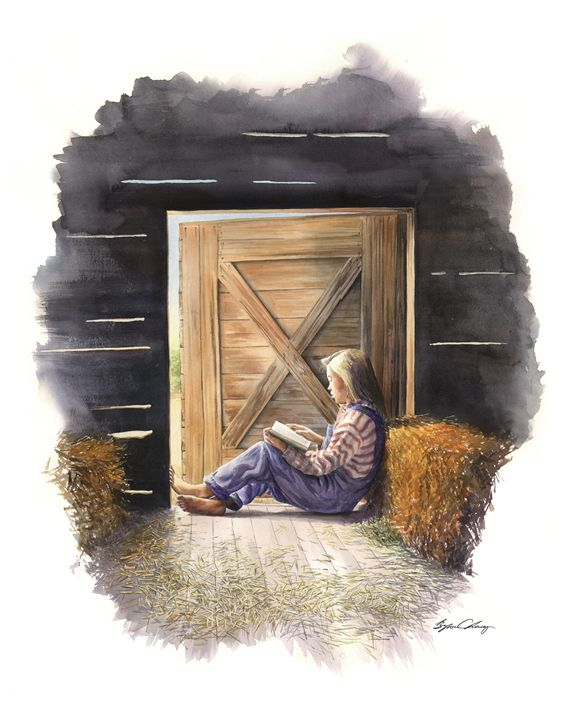 Farm Girl reading - Byron Chaney's Illustration and Design