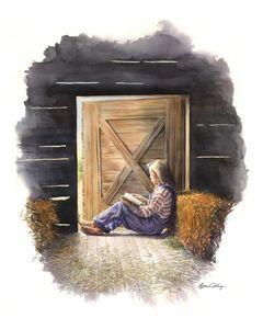 Farm Girl reading - Byron Chaney's Illustration and Design